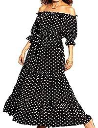 Aox Dames Classy À Manches Longues Crochet Dentelle Patchwork A-Ligne en  Mousseline de Soie Balançoire Robe De Beauté Empire… a794bb6ada06