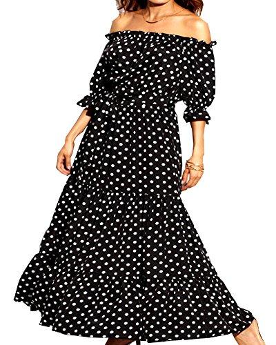 Aox Womens Summer Casual Schulterfrei Rüschehülse Polka Dot Gedruckt Eine Linie Party Holiday Maxi Kleid (6/8, Black)