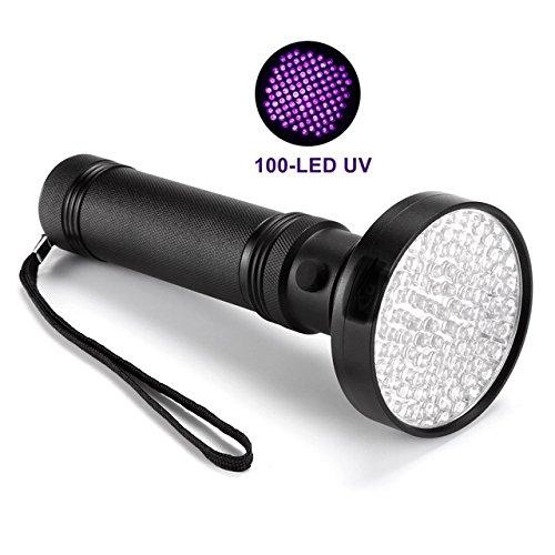 Móvil-Detector de billetes falsos UV 100LED Linterna Lámpara UV Negro Luz dispositivo de prueba