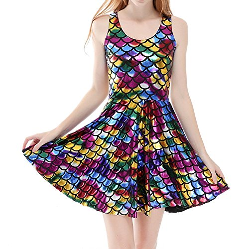 Femmes Réversible Plissée Robe Sexy Gril Gilet hibote Skater Dress Scale Mermaid Prints Multicolore