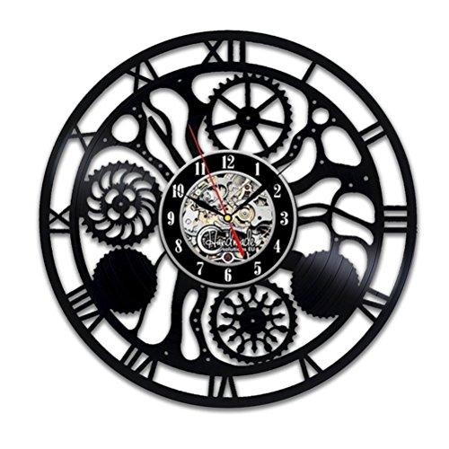 GuoEY Reloj de pared digital de moderno diseño en negro ruedas dentadas Steampunk Relojes colgantes decorativos 3D CD VINILO Pared Registro Ver la decoración del hogar