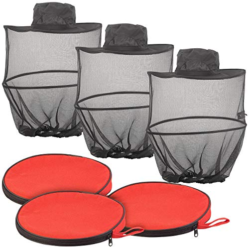 Semptec Urban Survival Technology Moskitohüte: 3er-Set kompakt Faltbare Hüte mit Moskitonetz, 300 Mesh, schwarz (Imkerhüte) -