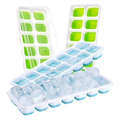 【Upgrade Version】4 Stück Eiswürfelform, TOPELEK Silikon Eiswuerfel Form Eiswuerfelbehaelter Mit Deckel Ice Tray Ice Cube 14-Fach, Kühl Aufbewahren, LFGB Zertifiziert, Grün+Blau