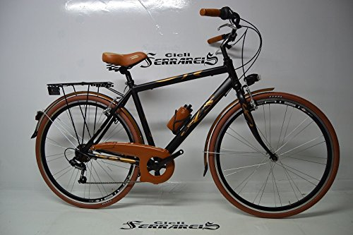 BICICLETA CITY BIKE TREKKING BASTON 28 AL  HOMBRE 6 V NEGRO MARRON GRIS