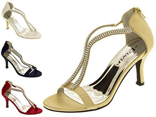 Footwear Studio Divine Satin Diamante Parti Sandales Femmes