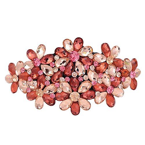 Contever® 1Pcs Fiore di Cristallo Barrette Francese dei Capelli Grip Clip di Pin - Champagne Red