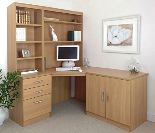 R. White Cabinets SET-19-IN-CO Classic Oak Computer Table Desk Hutch Bookcase With Doors Home Office Furniture UK Wooden Effect Design On Wall Large Files Low Cabinet Combo Children Big Ranges