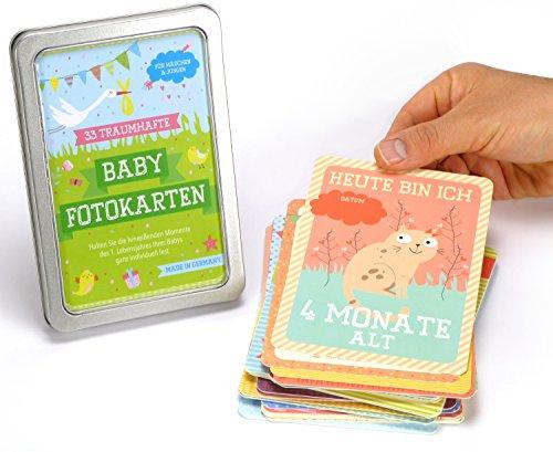 33 Baby Meilenstein Karten fürs erste Lebensjahr - Ideal als Geschenk zur Geburt oder in der Schwangerschaft - Meilensteinkarten Baby Cards für Jungen & Mädchen - Deutsch