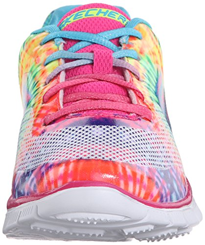 Skechers Kids Skech Appeal Lace Up Athletic Sneaker (Little Kid/Big Kid), Neon Pink/Multi, 1 M US Little Kid (Neon Pink/Multi)