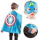 LAEGENDARY Superhelden Kostüme für Kinder - 4 Capes und Masken - Halloween Kostüm - Im Dunkeln Leuchtendes Captain America Logo - Spielsachen für Jungen und Mädchen - Karneval Fasching Costume