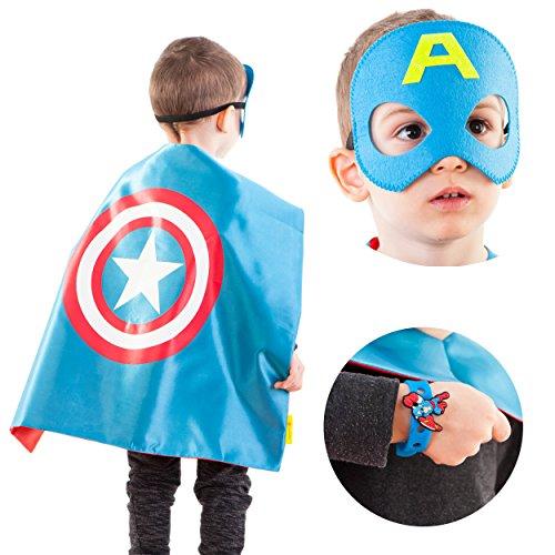 LAEGENDARY Disfraces de Superhéroes para Niños   4 Capas y Máscaras   Logo Brillante de Capitán América   Juguetes para Niños y Niñas
