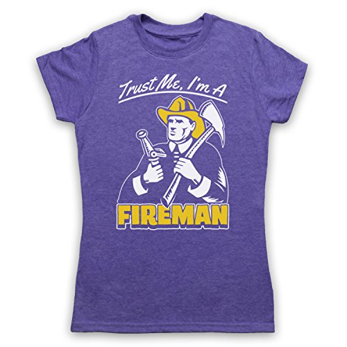 Trust Me I'm A Fireman Funny Work Slogan Damen T-Shirt Jahrgang Violett