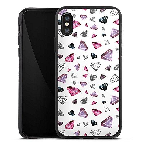 Apple iPhone X Silikon Hülle Case Schutzhülle Diamanten Juwelen 80er Silikon Case schwarz