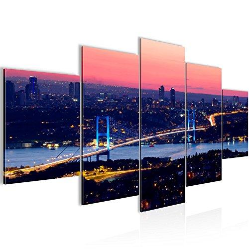 Bilder Istanbul Türkei Wandbild 200 x 100 cm Vlies - Leinwand Bild XXL Format Wandbilder Wohnzimmer Wohnung Deko Kunstdrucke Blau 5 Teilig -100% MADE IN GERMANY - Fertig zum Aufhängen 603851a