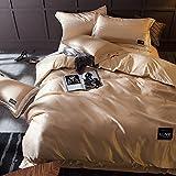 Mrtie Gewaschene Seide Vierteilige Baumwolle Bettwäsche Continental Satin Hochzeit Hotel Baumwolle Feste Tencel Quilt Bettwäsche Vierteilige 1,5 und 1,8 m Bett Bettbezug 200 * 230 cm Bettbezug 220 * 2