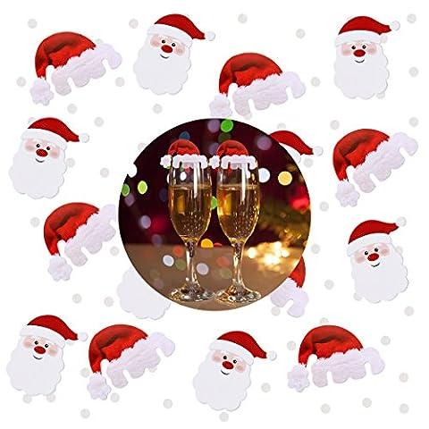 NICEXMAS Lustige Weihnachtsdeko für Gläser / Weihnachtsmannmützen - Tischdekoration aus