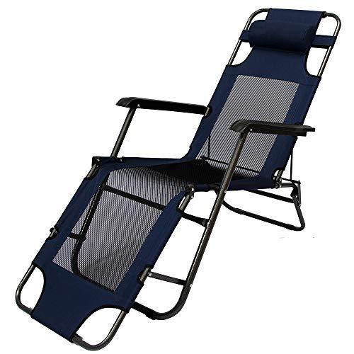 AMANKA Faltbare Campingliege Freizeitliege Verstellbare Gartenliege Liegestuhl mit Nackenstütze Klappliege in Dunkelblau Stahlrahmen Belastbarkeit max. 120KG 178cm