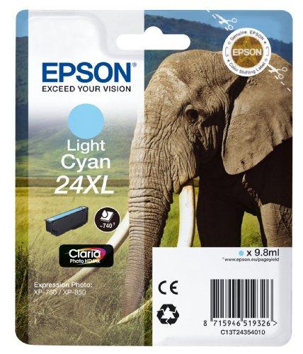 Preisvergleich Produktbild Epson T2435 Tintenpatrone Elefant XL, Singlepack hell cyan