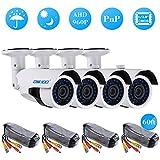 OWSOO 4*960P AHD IR CCTV Telecamere + 4*60ft Cavo di Sorveglianza Supporto IR-CUT Visione Notturna 30pz Array Lampada Infrarossa 1/2,8 Pollici di Colore CMOS per Sicurezza Domestica PAL Sistema