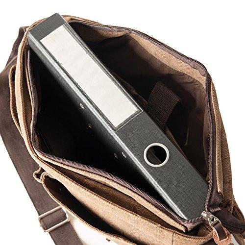 Messenger, Borsa del computer portatile,Borse a spalla, Collegebag, Vintage, Canvas & Pelle, Unisex, DIN A4 cartella /Laptop adatto, Mod. 2074 by fashion-formel Marrone