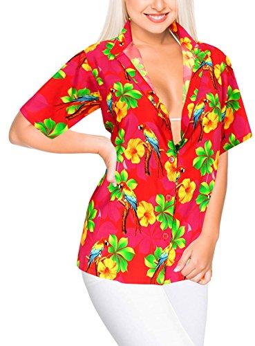 LA LEELA Blusen Taste nach unten entspannt Hawaiihemd Frauen Urlaub Kurze Ärmel rosa l