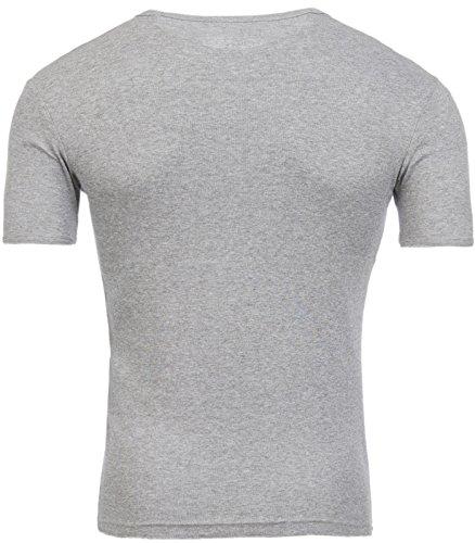 Young & Rich Deep V-Neck T-Shirt Herren Club Disco Knöpfe YR-1872 Sommer Grau