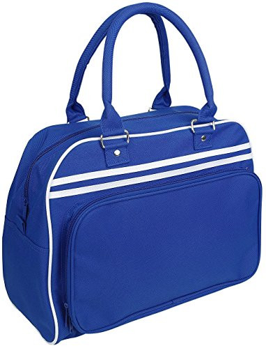 BagBase Retro Bowling Bag Borsetta blu/bianco