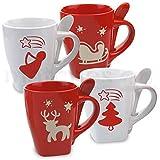 matches21 Schöne Motiv Weihnachtstassen mit Löffel 4 Stk. Weihnachtsmotiv Tassen in rot / weiß Keramik 10 cm / 350 ml