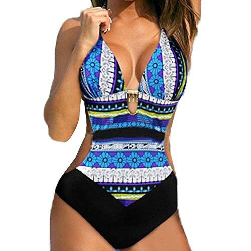 ESAILQ Frauen Push-Up Bikini Printed Bohemia Badeanzug mit Badeanzug(X-Large,Blau)