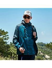 Chaquetas Chaqueta de los hombres de primavera / otoño pareja chaqueta a prueba de viento chaqueta impermeable asalto con capucha Sudadera con capucha Sudaderas con bolsillos ( Color : Blue , tamaño : XXXXXL )