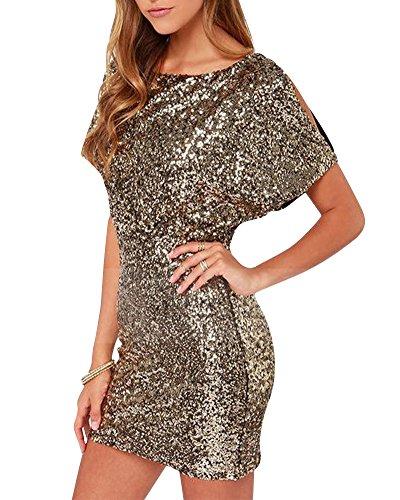 Women Short Sleeve Neck Sequin Glitter Backless Dress Bodycon Stretchy Mini Party Dress Gold XL