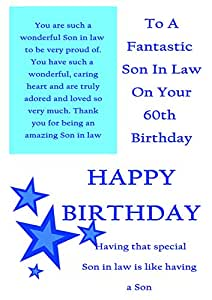 Son In Law 60th Birthday Card With Removable Laminate Amazoncouk