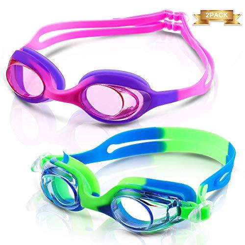CAMTOA 2 Pack Schwimmbrille, Schwimmenbrille für Kinder und Teenageralter von 3 bis 15 Jahren, Schwimmen Brille mit Antibeschlag, Wasserdicht und UV Schutz, lecksicher Schwimmbrille für Jungen Mädchen