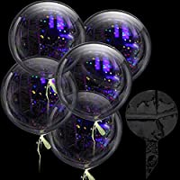 ‏‪5 Pieces Jumbo Bobo Balloons Clear Round Balloons Reusable Fillable Transparent Balloons for Photo Shoot DIY Wedding Birthday Halloween Party Festival Decoration (36 Inches)‬‏