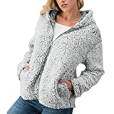 iHENGH Damen Mantel Top,Women Winter LäSsige Warme ReißVerschlussjacke Solide Outwear üBer Ober Coat Strickjacke Tops