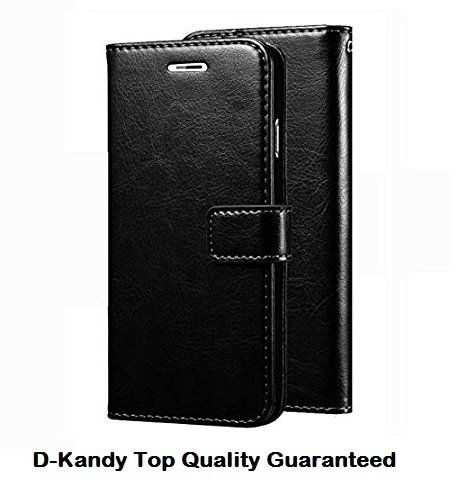 D-kandy Leather Flip Wallet Case Stand with Card Holder Magnetic Cover for Samsung Galaxy J7 Prime & ON NXT (Black)