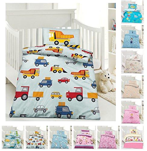 Kinder Bettwäsche, Babybettwäsche 100x135 cm + 40x60 cm 100% Microfaser in verschiedenen Designs, Baustelle