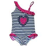 Tiaobug Kinder Badeanzug Bademode Einteiler Bikini Schwimmanzug Herzchen 92-128 für Mädchen Marineblau 110 (Herstellergröße:116-122)