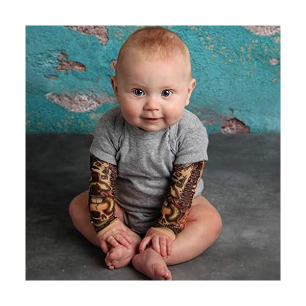 MYONA Mono de Bebé Manga Larga, Traje para Bebé Recién Nacido con Impresión del Tatuaje Bebé Mono Mameluco Bodies Bebé… 2