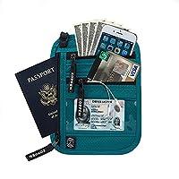 Zoppen Rfid Travel Passport Wallet Neck Holder Ultra Slim Stash Money Pouch, Aqua Green