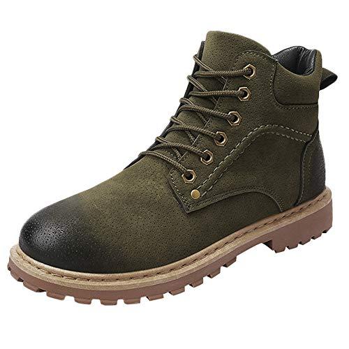 CUTUDE Lässige Herren Outdoor High Top Schuhe Plus Samtverdickung Werkzeugschuhe (Grün, 42 EU) (Schuh-reiniger Jordans Für)