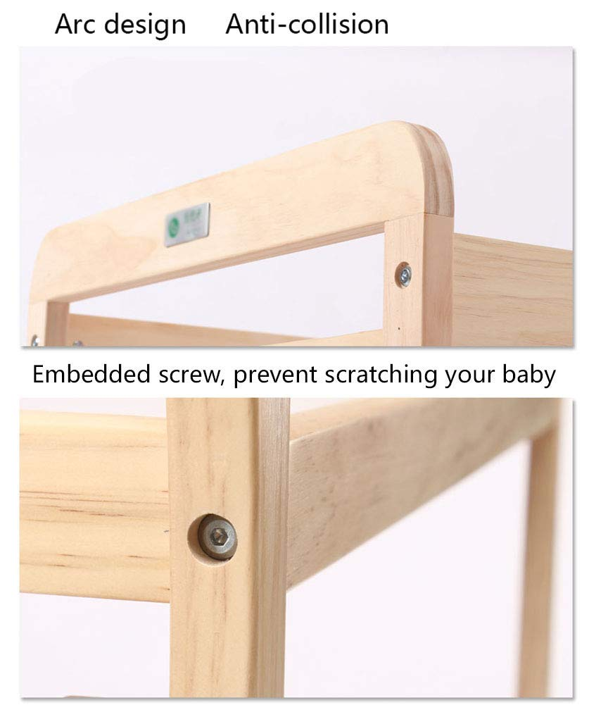 Baby Changing Table Dresser Nursing Station with Casters Portable Bath Organizer for Infant Moving Wood Storage- Natural (Size : 80x58x100cm) GUYUE Silent caster with brake. Safety rails enclose all four sides of the changing area Strong and sturdy wood construction: Pine + solid wood paint free board. 6