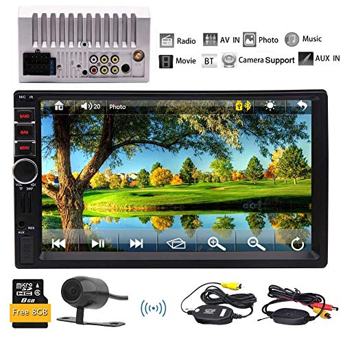 EINCAR Auto Wireless Rear View Camera + 7-Zoll-Doppel-DIN-GPS-Navigation kapazitiver Touchscreen in Dash Stereo Auto-Empfänger Audio-Video-Player Bluetooth-Freisprecheinrichtung FM Radio MP5 / TF (In Dash Stereo With Backup Camera)