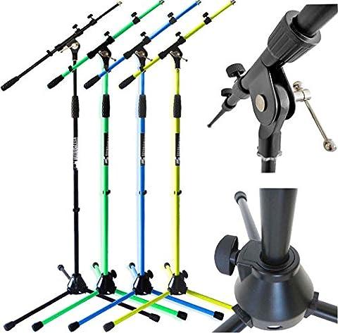 Keepdrum MS107BK Mikrofonständer mit Galgen und Guss-Sockel in 4 Farben (Black)