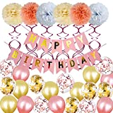 Weimi 30th Oro Rosa Decoraciones de cumpleaños para mujeres inflar Foil Feliz Banner
