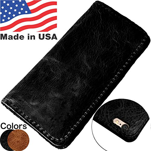 Leder iPhone Fall Wallet, Black 6/6s Plus