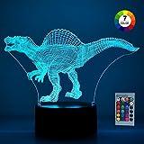 SOKY Spielzeug für 2-10 jährige Jungen Mädchen, Dinosaurier 3D Illusionslampe für Kinder Geschenke für Jungen 2-10 Jahre