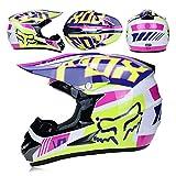 CFYBAO Adulto Motocross Casco Gafas De Regalo Máscara Guantes Fox Moto Racing Casco Completo Cara para Hombre Y Mujer,A,S