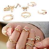 BSI STOREINBOX - Lote de 7 anillos dorados de estrás, diseño de lazo y cruz, para mujer