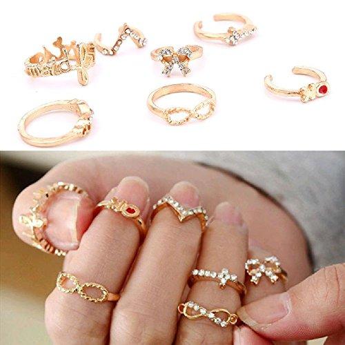 BSI STOREINBOX - Lote 7 anillos dorados estrás, diseño